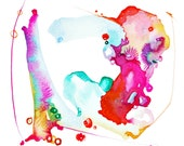 Abstract Watercolor, Fall Decor, Autumn Color, Tribal, Boho Art, Earthy, Contemporary Art, Nature, Rust, Fuchsia,