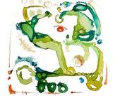 Abstract Green Nature Art, Spring Summer Decor, Whimsical Watercolor, Watercolor Print, Wall Art, Wall Decor,  Archival Digital Print