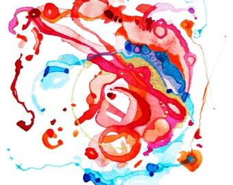Watercolor Print, Abstract, Unique Wall Decor, Love, Red, Passion