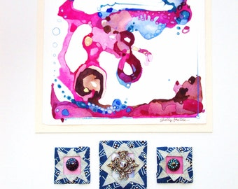 Abstract Original, Mixed Media, Collage, Ready to Frame, Raspberry Pink, Chocolate, Vintage Button Covers, Origami