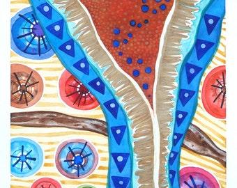 Tribal Abstract Art, Blue and  Orange Original Watercolor, Rustic Decor, Geometric, Ethnic,