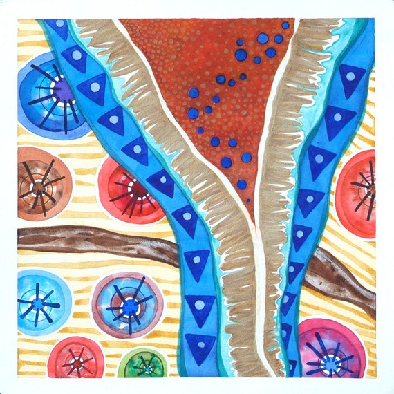 Tribal Abstract Art, Blue and  Orange Original Watercolor, Rustic Decor, Geometric, Ethnic,