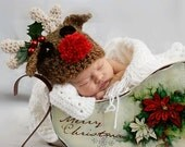 Reindeer with a Red Nose Hat, for Children, Infants, Winter, Christmas, Gifts