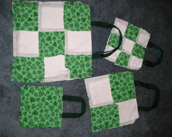 Four Irish Green and White Tote Bags - washable reusable - perfect gifts