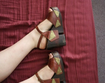 vintage leather and wood t-strap platform shoes