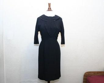 vintage 1950s mad men black dress XS or S