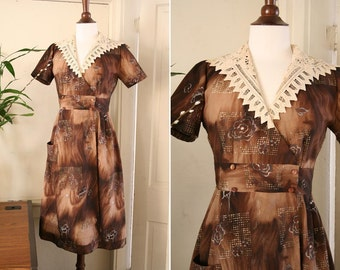 vintage brown crochet collar day dress 30's 40's 50's size M