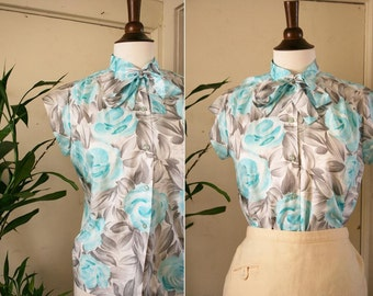 vintage turquoise & gray ASCOT blouse 1960s with FREE GIFT