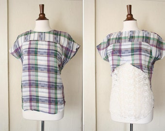 vintage plaid and lace top REVERSIBLE