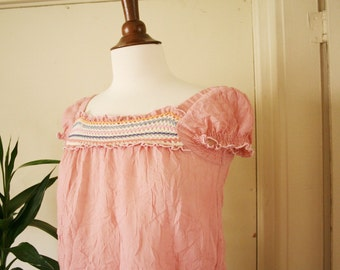 vintage pink babydoll blouse sz XS