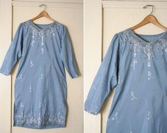 Vintage blue Indian Tunic Dress size M