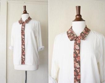 vintage FLORAL collar detail white blouse