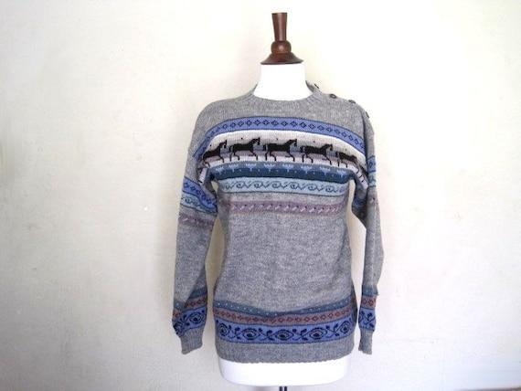 vintage Sirkka Kononen nordic horse gray sweater from finland