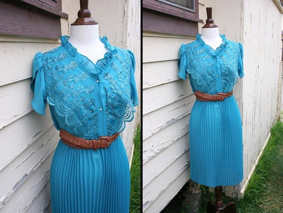vintage teal lace day dress M
