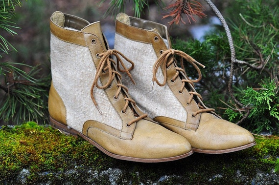 real vintage two tone leather and canvas ankle boots size 6.5