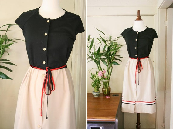 vintage 1950s black and creme day dress with trim S