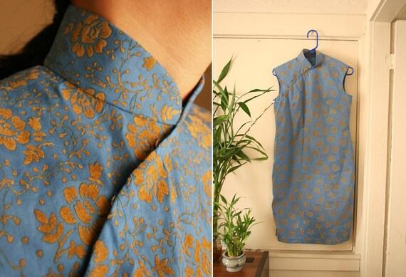 vintage CORNFLOWER blue and yellow floral cheongsam SHANGHAI GIRLS 60s 50s dress