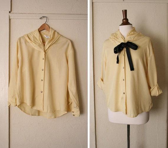 vintage pale yellow unique collar blouse