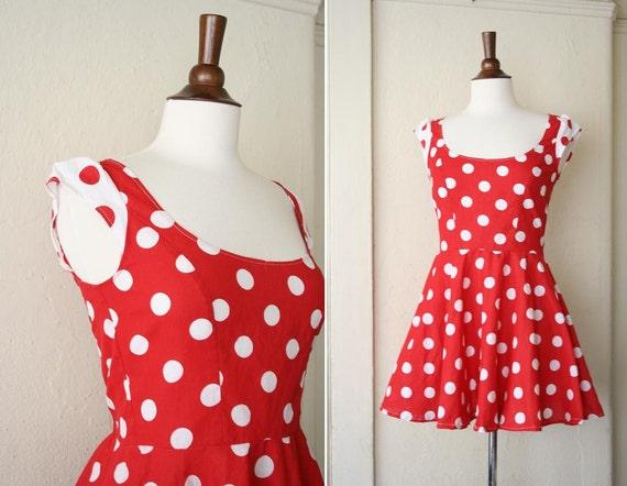 vintage POLKA DOT red mini dress sz S-M