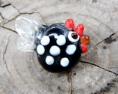 4 small black and white polka dot chicken beads - lampwork glass - jewelry and craft supplies - rooster - DIY