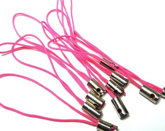 10 Cell phone straps - hot pink - craft supplies findings