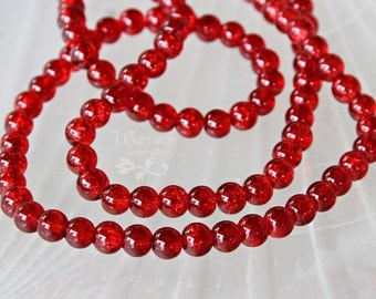 Vibrant Scarlet Red 6mm Crackle Glass Beads - long strand of 156 beads - 3/8 inch beads