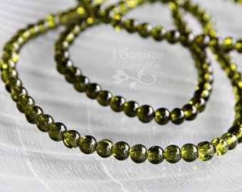 Mossy Olivine Green 4mm Crackle Glass Beads - long strand of 210 beads - 1/8 inch beads