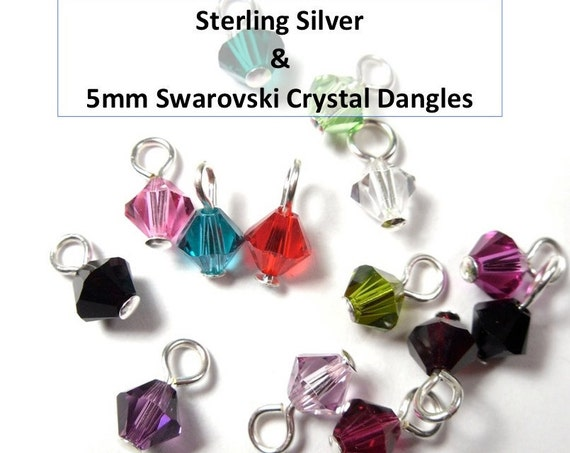 24 Swarovski 5mm crystal or pearl charms drops on sterling silver headpins-  for charm bracelets, necklaces, earrings - jewelry supply