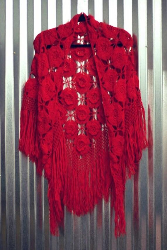 Vintage Red Crochet Shawl