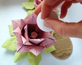 Origami LED tealight holders for your elegant table- 2 Pink Lotus Flowers- Free US Shipping