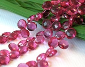 6 pcs, 10mm Rubilite Hydro Quartz Flat Heart Briolette...Aaaamazing, gorgeous electric raspberry shade...sparkly and lush