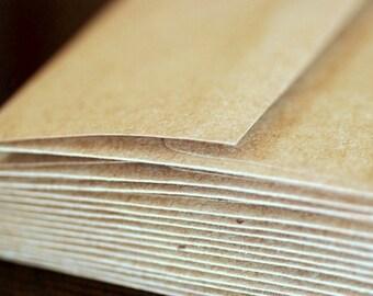 "50 A2 Kraft Envelopes: kraft or light brown envelopes, grocery bag envelopes, rustic, eco-friendly, recycled, 4 3/8"" x 5 3/4"" (111 x 146mm)"