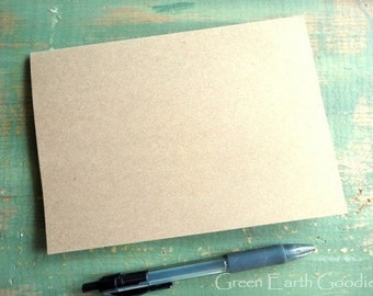 100 A6 Blank Cards: Folded Kraft Cards, Rustic Cards, Recycled, 4 5/8 x 6 1/4 (117x159mm) or 4x6, 80lb, 100lb or 105lb, kraft or light brown