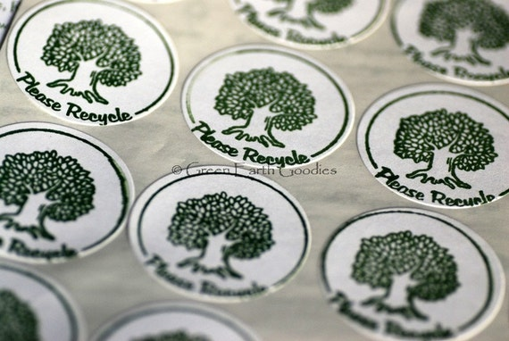 90 Hand Stamped Please Recycle Stickers / Labels