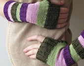 Violet Pink Olive Green pretty hands - colorful handmade arm warmers
