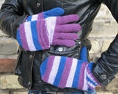 Very warm Blue wool winter convertible mittens