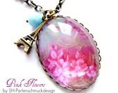 Vintage necklace Pink Flowers