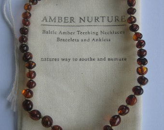 Dark Amber Teething Necklace, Baby Length 30-32cm, Organic, Eco, Amber Nurture.