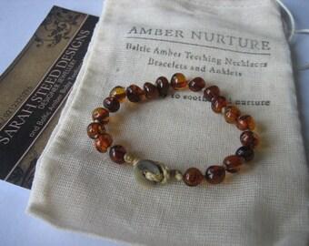 NEWBORN AMBER BABYSHOWER bracelet / anklet, organic, waldorf, eco, baby gift, teething, naming, new baby, Amber Nurture.
