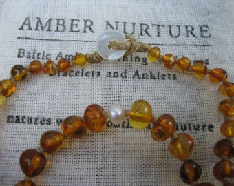 PEARL and BALTIC AMBER teething necklace