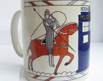 Tardis Bayeux Tapestry Doctor Who Mug - Bad Wolf - The Doctor - Nocens Lupus - Ceramic Mug - Doctor Who Gift - Stocking Filler