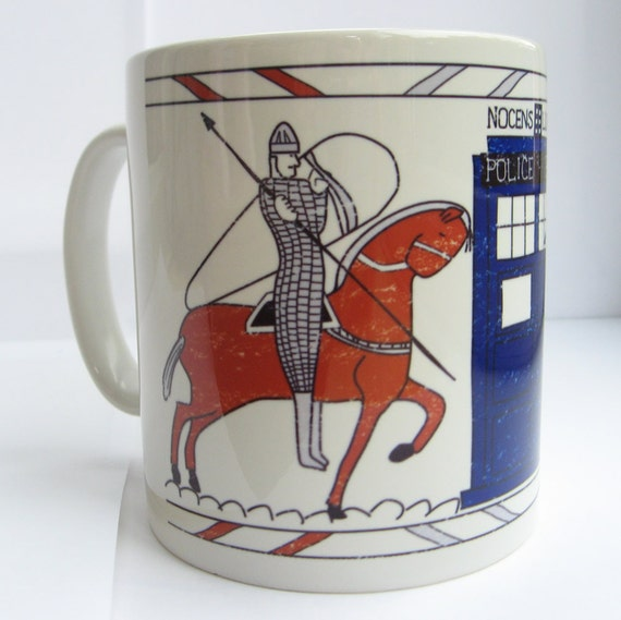 Tardis Bayeux Tapestry Doctor Who Ceramic Mug