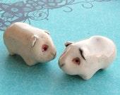 Albino Guinea Pig Cavy Miniature Terrarium Figurine-set of 2
