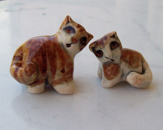Tabby Cat Mamma and Baby Handmade Miniature Ceramic Figurine