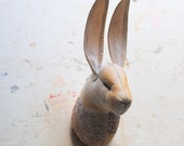 Soft Sculpture.Textile Taxidermy. Hare head with vintage embroidery.