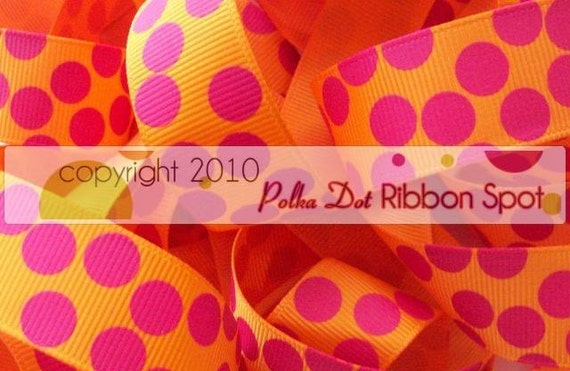 5 yards- 7/8 inch Tangerine/Fuschia Silly dot grosgrain ribbon WHOLESALE