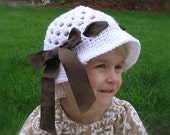 White Toddler SunHat with Brown Ribbon Bow -- size 2T-5T