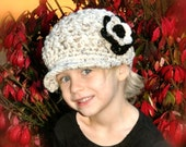 Crochet Brimmed Beanie Hat - Tan and Black with a Crochet Flower