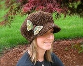 Brimmed Beret Hat - Brown with Butterfly