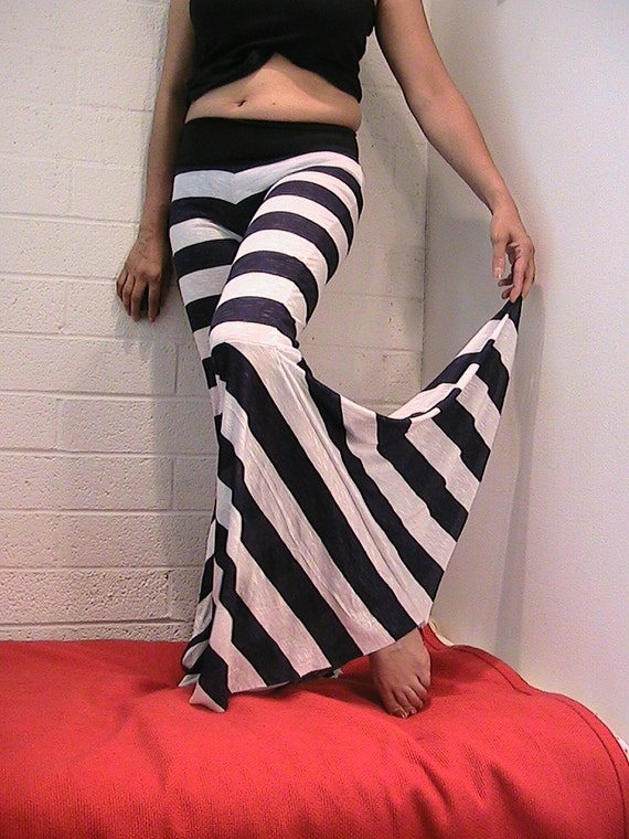 Tribal & Flamenco Flare Pants Navy Blue and White stripe SMALL